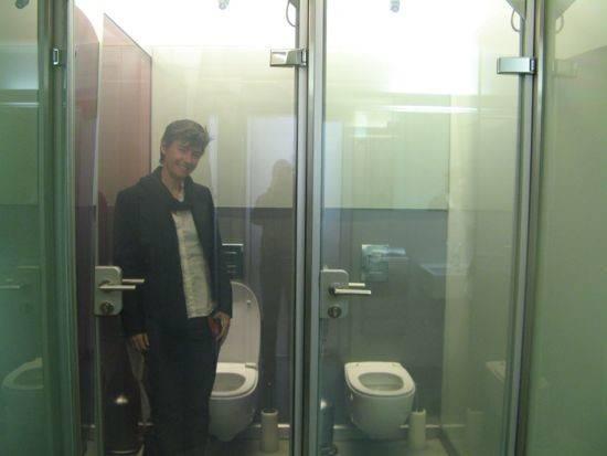 Toilet Door Clear Glass Until Lock Then Turns