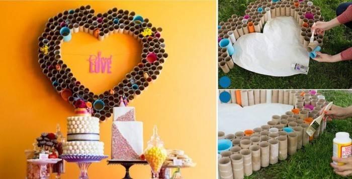 Toilet Paper Roll Crafts Make Heart Wall Art Diy Home