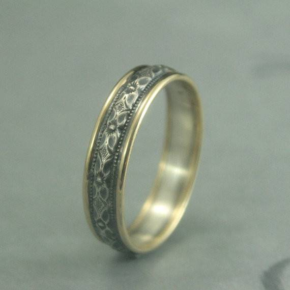 Touch Gold Renaissance Wedding Band Bimetal Ring Two Tone