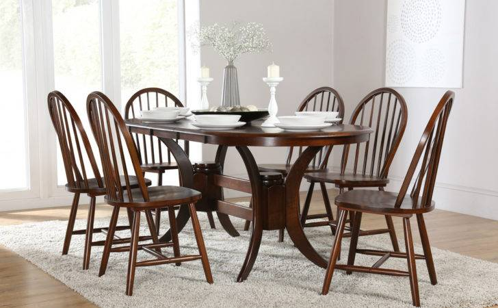 Townhouse Windsor Oval Dark Wood Extending Dining Set Only