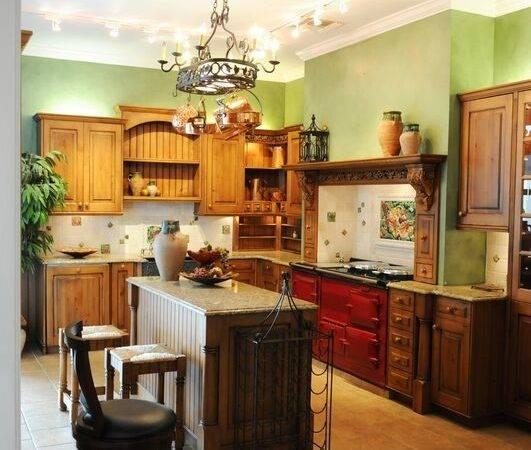 Traditional Italian Kitchen Design Red Aga Stove
