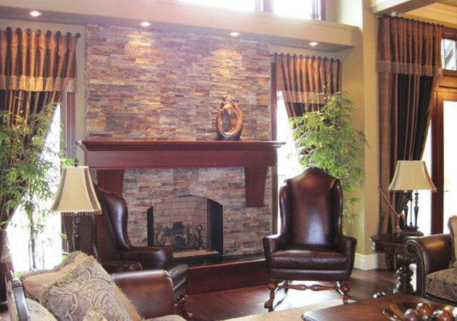 Traditional Open Concept Stone Fireplace Living Room