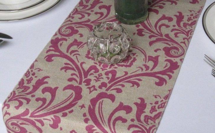 Traditions Magenta Linen Damask Wedding Table Runner Via