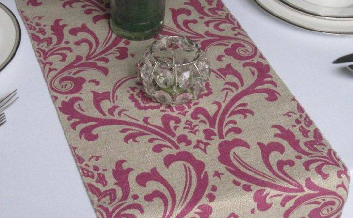 Traditions Magenta Linen Damask Wedding Table Runner