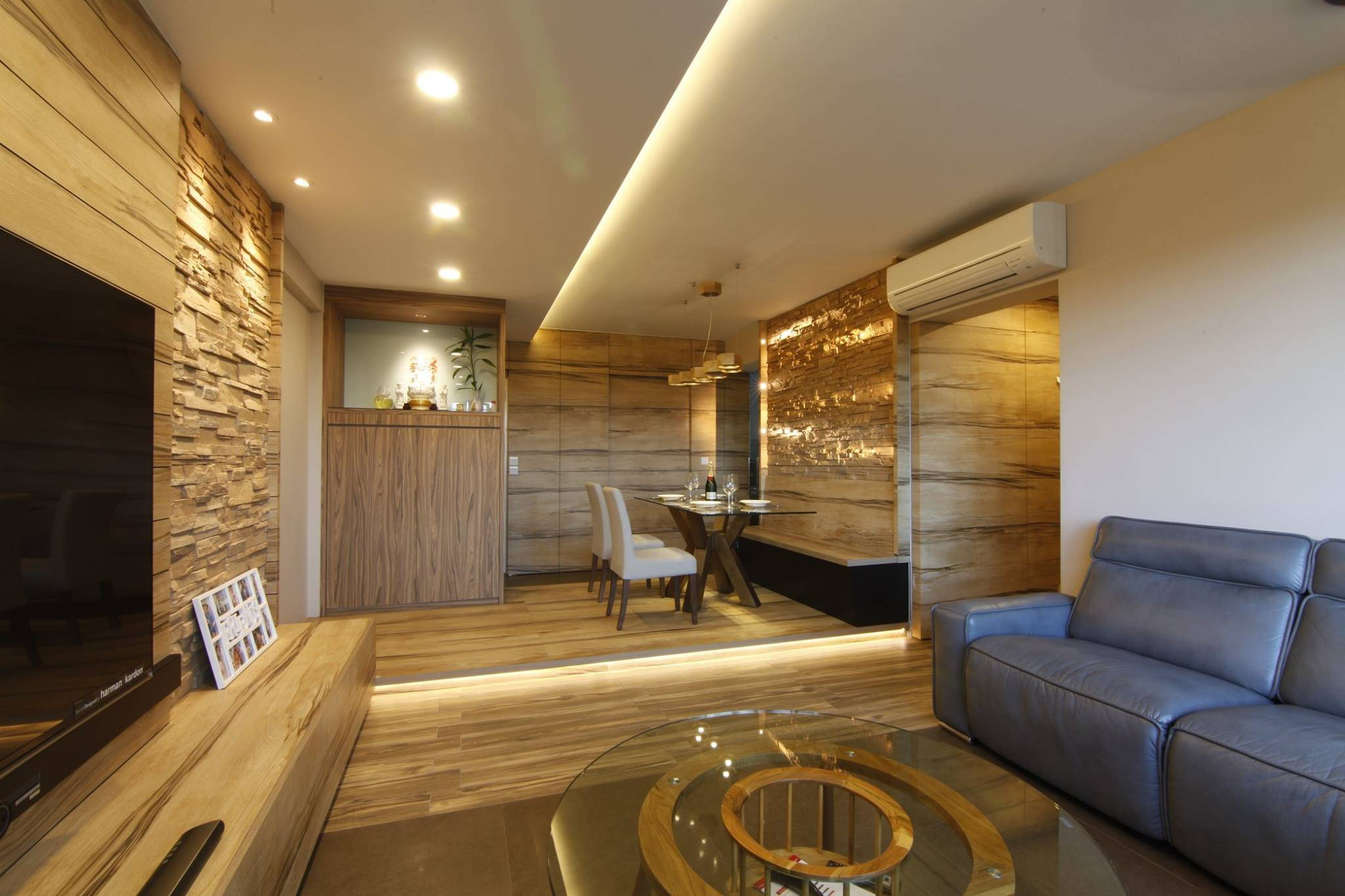 Tranquilizing Modern Resort Interior Design Wood Grain Laminate