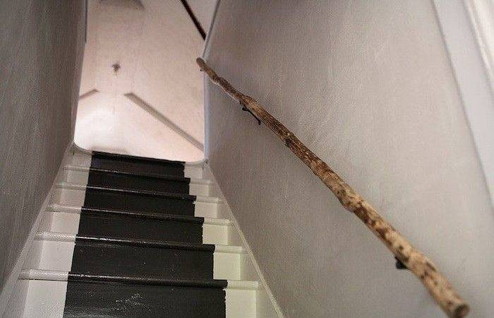Tree Branch Stair Rail Simple Beautiful Solution Via