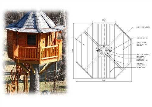 Tree House Plans One Octagonal Treehouse Plan