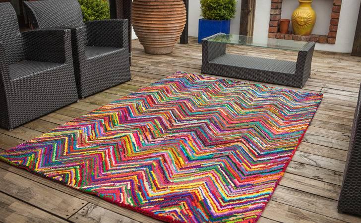 Trendy High End Multi Coloured Zigzag Rug Modern Stylish Colourfast