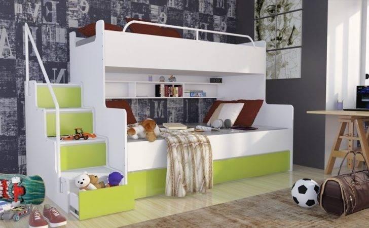 Triple Bunk Bed Mattresses Storage Children Bedroom Furniture