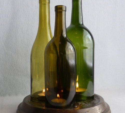 Triple Wine Bottle Candle Holder Hurricane Lamp Centerpiece
