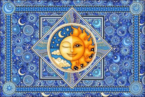 Trippystore Sun Moon Blue Tapestry