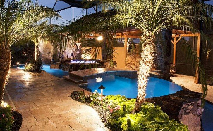 Tropical Pool Area Small Garden Around Brings Ambiance