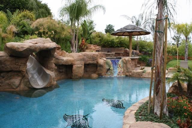 Tropical Pool Los Angeles Green Scene Landscaping Pools