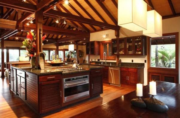 Tropical Style Kitchen Design Remain Cool