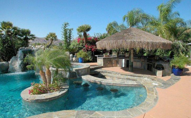 Tropical Swimming Pool Hot Tub Exterior Tile Floors
