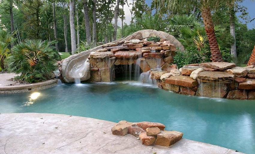 Tropical Swimming Pool Rock Water Feature Waterfall