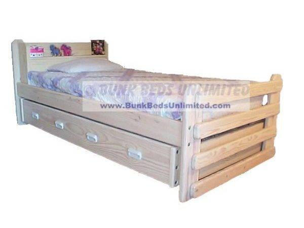 Trundle Bed Majestic Whitewash Finish Standard Twin Mattress Both Beds