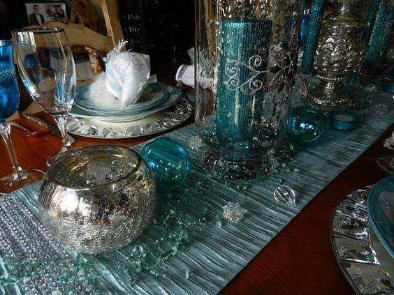 Turquoise Christmas Table Teal Silver