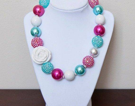 Turquoise Fuchsia White Girls Chunky Bubblegum Necklace