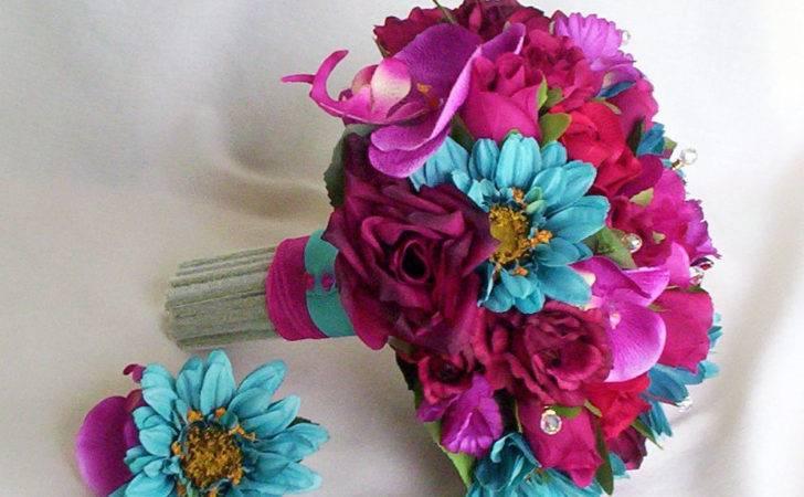 Turquoise Fuschia Bridal Bouquet Fiesta Colors Custom Payment