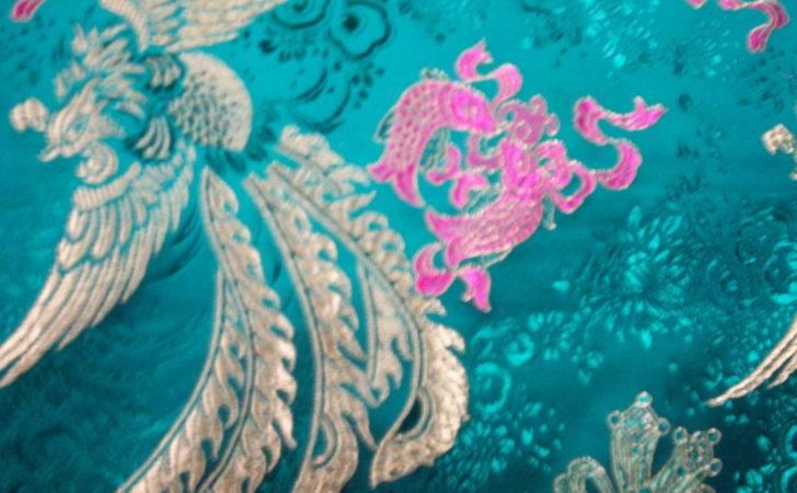 Turquoise Fuschia Brocade Pixels