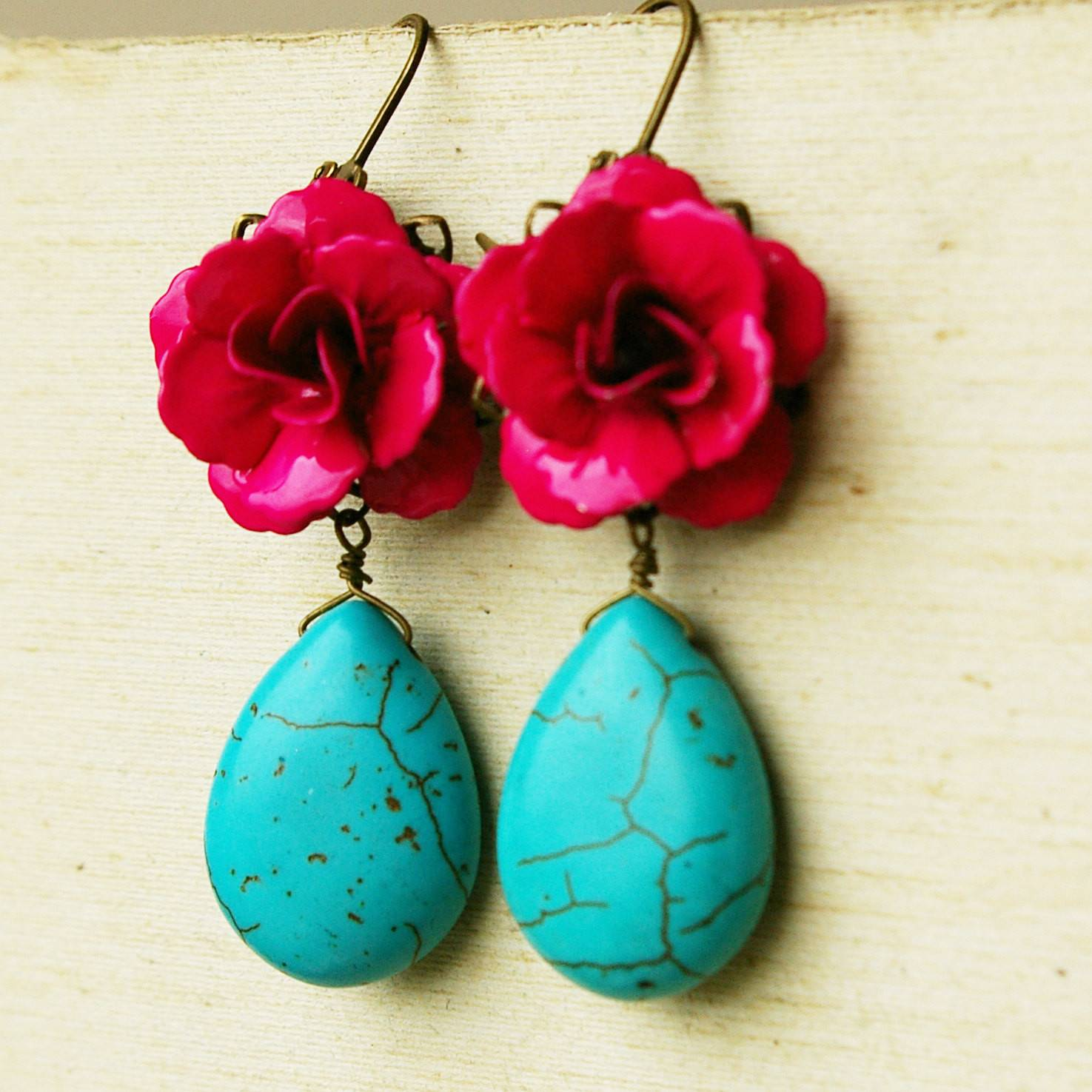 Turquoise Fuschia Rose Earrings Frida Collection Luxedeluxe