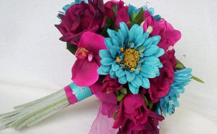 Turquoise Fuschia Wedding Flowers Custom Deposit Julie