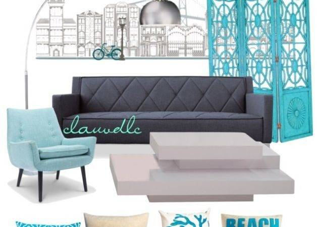 Turquoise Gray Living Room Chair Sofa White Table