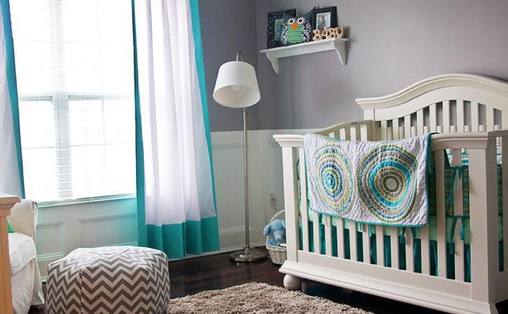 Turquoise Gray Owl Themed Nursery