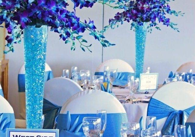 Turquoise Lame Chair Sashes Table Linens Decorations