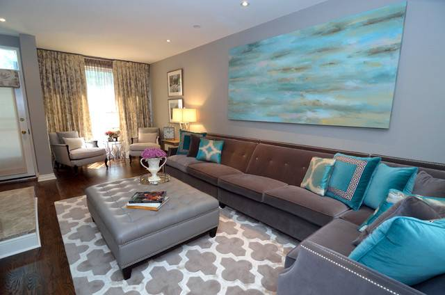 Turquoise Living Room Transitional Other Metro