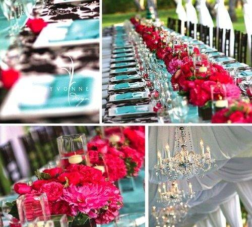 Turquoise Pink Wedding Reception