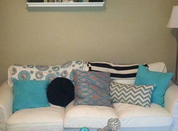 Turquoise White Gray Living Room Pinterest