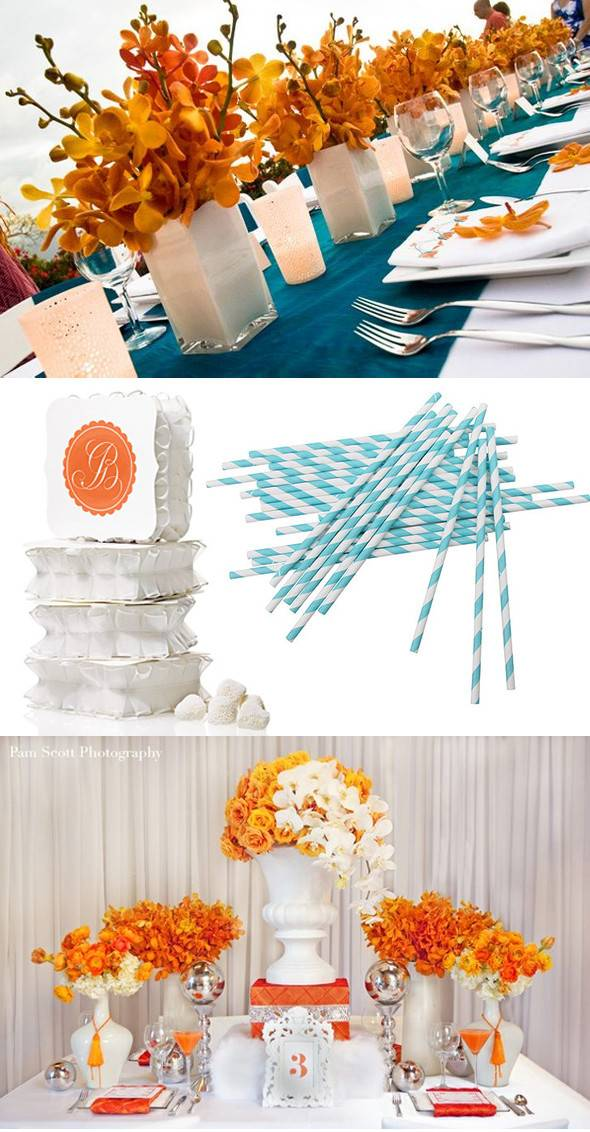 Turquoise White Orange Weddings Destination