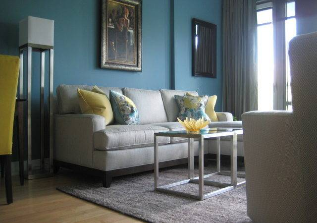 Turquoise Yellow Living Room Modern