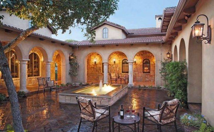 Tuscan Style Home Austin Texas Atrium Courtyard Fountain