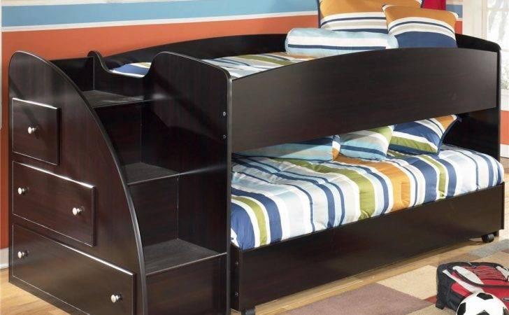 Twin Loft Bed Caster Left Storage Steps Signature