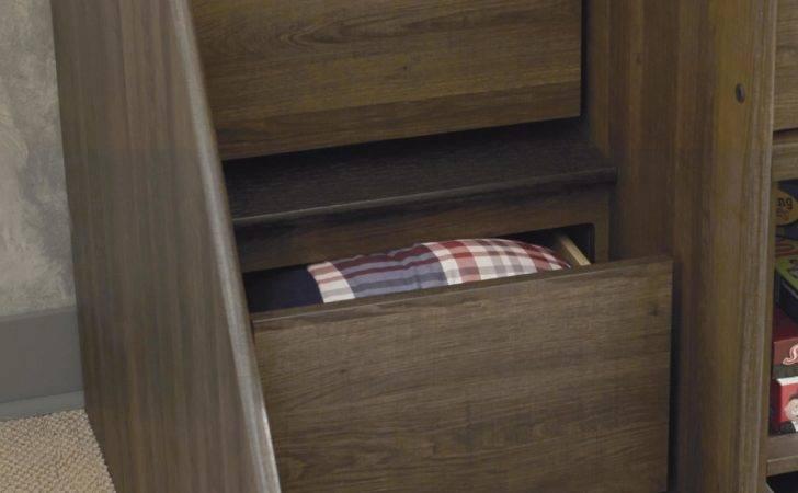 Twin Loft Bed Left Storage Steps Caster Signature