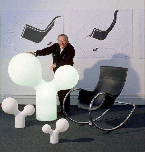 Two His Latest Designs Double Bubble Lamp Rocking Chair