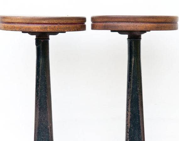 Two Vintage Soda Fountain Stools Counter Cast Iron
