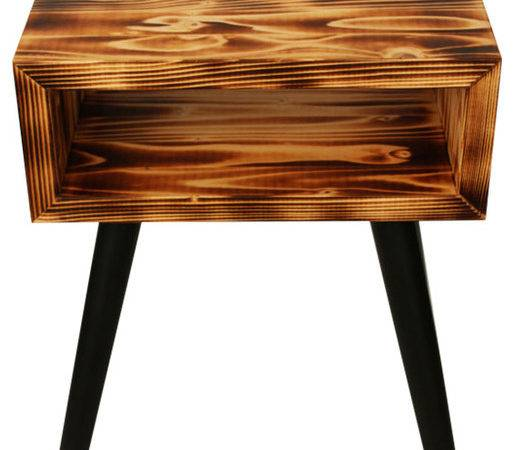 Unique Bedside Table Burning Wood Rustic Nightstands
