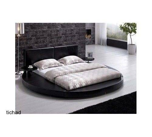 Unique Black Queen Platform Round Bedroom Set Headboard New Ebay