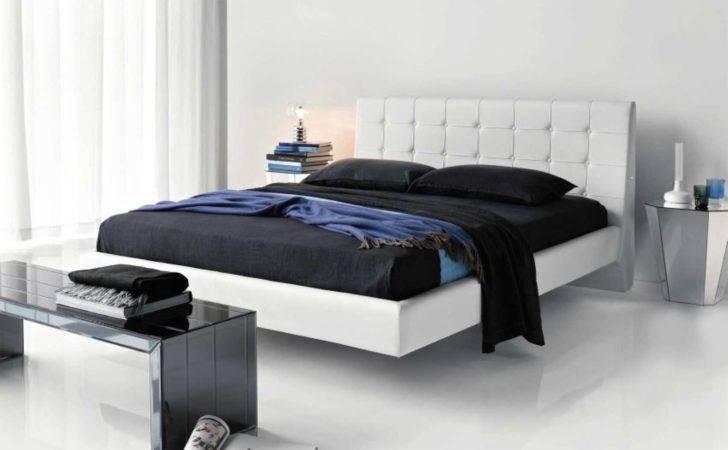 Unusual Bedroom Furniture Set White Floating Bed Between