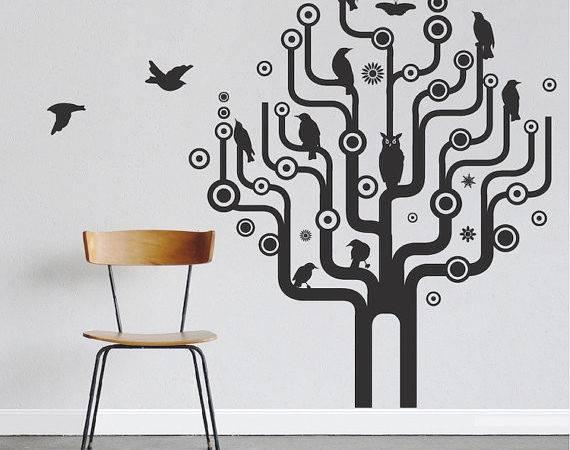 Urban Bird Tree Wall Decal