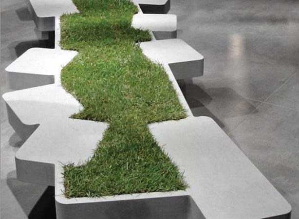 Urban Seating Unit Adorned Miniature Grass Island Saturnia Bench