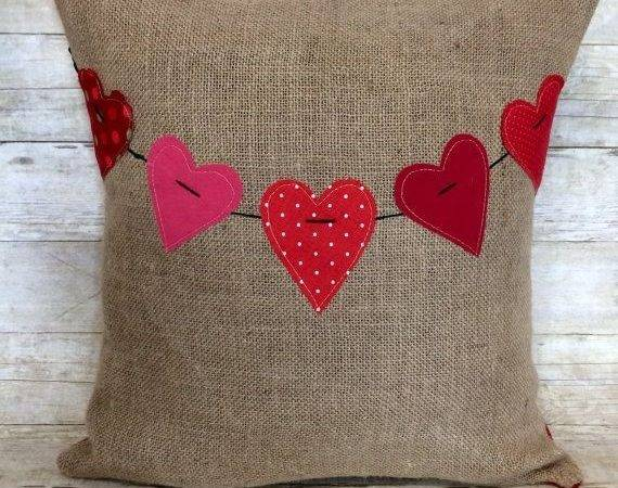 Valentine Frozen Diy Heart Banner Burlap Pillow Crafts