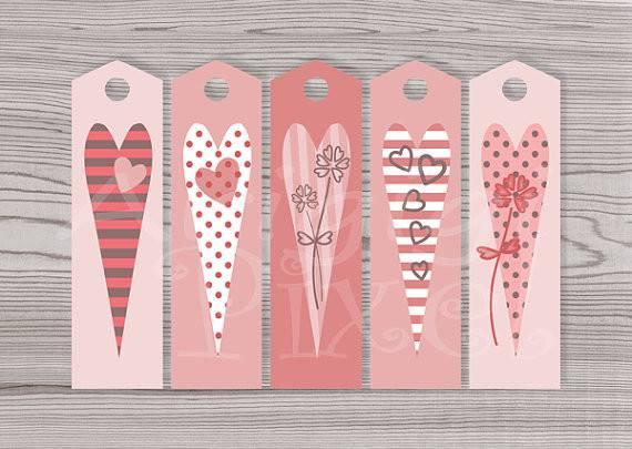 Valentine Long Gift Bookmarks Diy Reminder Hearts