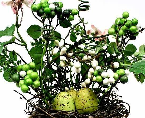 Vase Bird Nest Eggs Berries Floral Arrangement Wedding