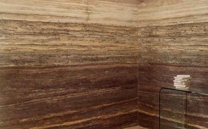 Vein Cut Travertine Stone Walls Shower Lapicida Material