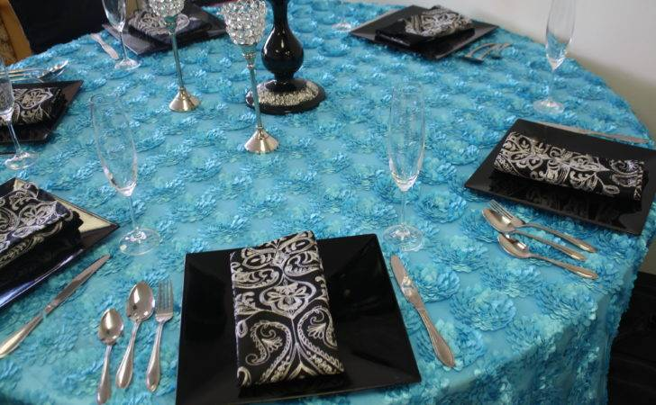 Velvet Table Cover Turquoise Black Silver Tie Event